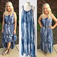 Boho Ombre Tie Dye Flowy Maxi Dress or Beach Cover Up Denim - Seafoam Green S-2X #IndiaBou7tique #Maxi #SummerBeach