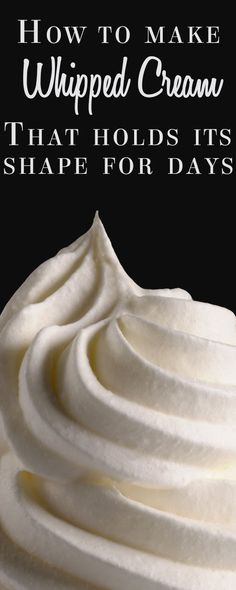Stabilized Whipped Cream - (worked great for cake frosting) This recipe for sweetened whipped cream will solve all your problems on how to get whipped cream to hold it's shape for days. Making Whipped Cream, Sweetened Whipped Cream, Whipped Topping, Stabilized Whipped Cream Frosting, Wipped Cream Frosting, Stablized Whipped Cream, Vanilla Icing, Stiff Whipped Cream Frosting Recipe, Dairy Queen Frosting Recipe