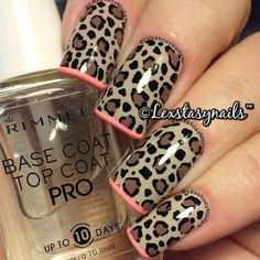 """""""Oh @lexstasynails how I absolutely adore this mani!!! Animal print in nudes with a subtle coral French tip has me ! Tag your nail art #bdettenails to be…"""""""