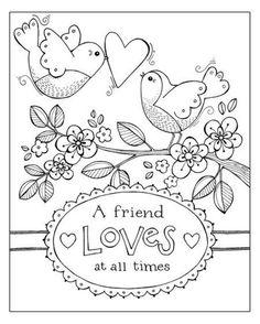 Birds Valentine Coloring Page