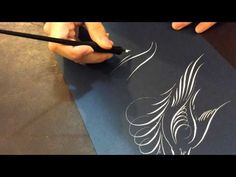 ▶ Off-hand Bird Flourishing With White Ink- Calligraphy by Hoang - YouTube