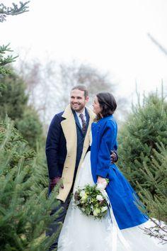 Dazzling blue coat for the bride Rhode Island Winter Wedding Ideas