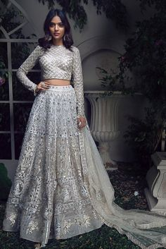 Light Blue Lehenga with Embellished Long Sleeve Blouse – Studio Desi Wedding Dresses, Indian Wedding Outfits, Indian Outfits, Saree Wedding, Floral Lehenga, Blue Lehenga, Silk Lehenga, Lehnga Dress, Nikkah Dress