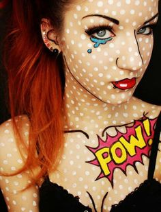 Such a creative idea! Found on Halloween Makeup Tutorials, Costume Ideas and Party Planning - The Best Halloween Ideas!: Comic Book Girl / Pop Art Halloween Costume and Makeup Tutorial Halloween Makeup Looks, Halloween Costumes For Girls, Halloween Make Up, Halloween Clothes, Pop Art Halloween Costume, Halloween Party, Pop Art Costume, Halloween Inspo, Retro Halloween