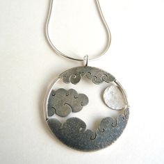 Moon and Clouds pendant | Contemporary Necklaces / Pendants by contemporary jewellery designer Becky Crow