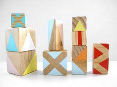 modern wooden toys: gold + rabbit blocks