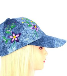 785ff900dcae2 Hand Embroidered Denim Hiking Cap - Floral Design Denim Hats for Women - Flowers  Hats for