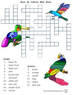 Colors in Spanish worksheet packet -- posters, puzzles, and more -- 18 pages for FREE at PrintableSpanish.com