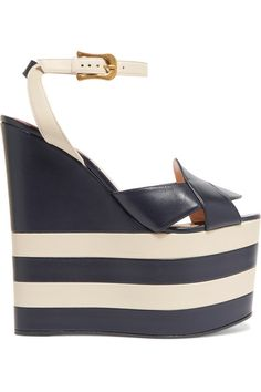 Heel measures approximately 175mm/ 7 inches with a 80mm/ 3 inches platform Midnight-blue and off-white leather Buckle-fastening ankle strap Come with dust bag Made in Italy