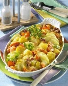 Kartoffel-Kohlrabi-Auflauf mit gekochtem Schinken #rezept