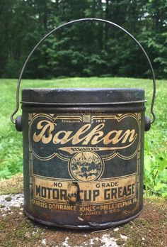 Rare Antique Balkan Motor & Cup Grease 5 Lbs Gas Service Station Can Bucket