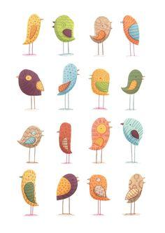 Greeting Cards II by Monika Filipina Trzpil via Behance; Idea: Use a cute little bird as an element on your page. Bird Illustration, Illustrations, Motifs Animal, Doodles, Bird Quilt, Bird Drawings, Bird Prints, Bird Art, Doodle Art