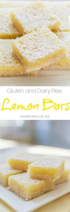 Lemon Bars (gluten free) with the best shortbread base ever!  Dairy Free   visit teabiscuit.org for more gluten free recipes