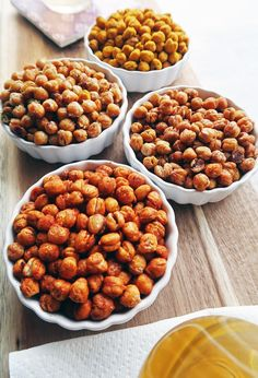 Roasted chickpeas are healthy, crunchy, addictive, and the flavour  combinations are endless! Check out these 4 delicious flavours; you can't  just have one! Vegan and gluten-free too! Chickpea Recipes, Vegan Recipes, Snack Recipes, Chickpea Snacks, Appetizer Recipes, Gluten Free Recipes, Dog Food Recipes, Italian Appetizers, Cooking Recipes