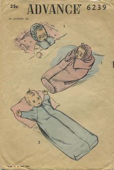 Vintage Doll Clothes Sewing Pattern | Advance 6239 | Year 1952 | No Size GIven | Note: There is no indication as to whether this bunting, hood and oversleeper pattern is for infants or dolls. It was acquired with other doll patterns so I have placed it on this board.