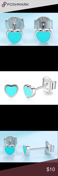 "🎄 Sterling Silver Teal Enamel Stud Earrings 🎄 These are sweet little Sterling silver (925) teal enamel Heart Stud Earrings. These would be a great for a little girls first pair of earrings. They measure: 3/16""W X 3/16""H. Jewelry Earrings"