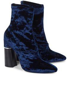 3.1 PHILLIP LIM Royal Blue Velvet Kyoto Boots. #3.1philliplim #shoes #boots