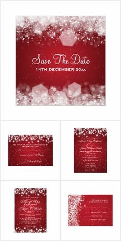 """#11- Wedding Invitation Set- #11- Wedding Invitation Set - Red wedding essentials inducing """"save the dates"""", invitations, ceremony programs,rack card,postcard,RSVP card,flyer,and many more!"""