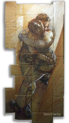 At first glance I thought this was drawn over multiple pieces of canvas. I love how the artist utilized cardboard to increase the depth in this piece