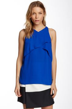 Sleeveless Crossed Layered Front Blouse by Vince Camuto