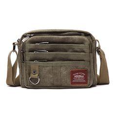 Retro Thread Crossbody Shoulder Bag Multifunctional Canvas Outdoor Casual Men Bag