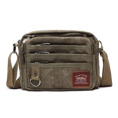 Retro Thread Crossbody Shoulder Bag Multifunctional Canvas Outdoor Casual Men Bag