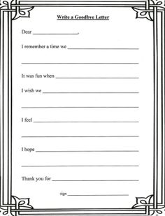 Lorinda-Character Education: Grief Stages and Goodbye Letter. an activity for children- teens. Counseling Worksheets, Therapy Worksheets, Counseling Activities, Grief Counseling, Elementary Counseling, School Counseling, Counselor Office, Grief Activities, Therapy Activities