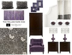 Master Bedroom Colors - grey, purple, brown  * or living or dinning room colors. I love grey and purple