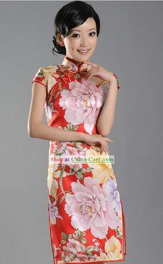 Chinese Stunning Silk Peony Qipao for Women Silk Peonies, Peony, Chinese Mask, Chinese Kimono, Chinese Style, Chinese Fashion, Cheongsam, Ao Dai, High Neck Dress