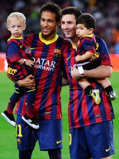 neymar messi filhos barcelona (Foto: Getty Images)