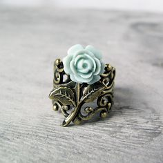 Duck Egg Blue Rose Ring Antiqued Bronze by jFrancesDesign