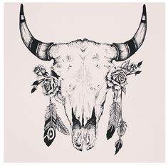 Cow skull and feathers @Jaclyn Booton Booton Booton Booton Ware I don't remember if I sent you this one lol