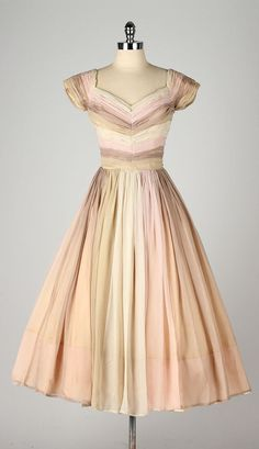 vintage 1950s dress . neopolitan striped by millstreetvintage
