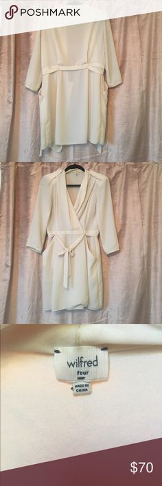 Wilfred dress - size 4 Off white/Cream colored wrap dress; gently worn only a handful of times. Perfect for a summer night or a winter day with boots! Wilfred Dresses Long Sleeve