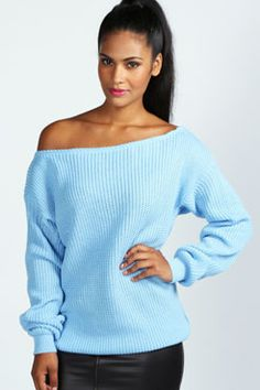 Lola Slash Neck Fisherman Jumper at boohoo.com