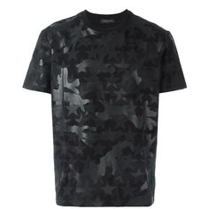 Valentino Camouflage and Stars T-Shirt ($535) ❤ liked on Polyvore featuring men's fashion, men's clothing, men's shirts, men's t-shirts, black, mens cotton t shirts, mens camo t shirt, mens leopard print t shirt, mens patterned shirts and mens short sleeve shirts