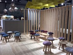 Furniture - stools are flexible, these look comfortable. BuzziSpace at the Stockholm Furniture Fair.