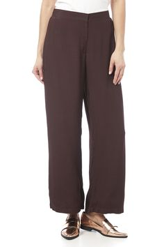 Maroon wide leg pant with a cropped length zip front closure and an elastic back.  Draped Rayon Pant by NATAYA. Clothing - Bottoms - Pants & Leggings - Cropped Clothing - Bottoms - Pants & Leggings - Flare & Wide Leg California