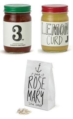 Hand drawn jar labels
