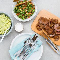Lamb with Pesto-Smashed Potatoes and Cos Salad