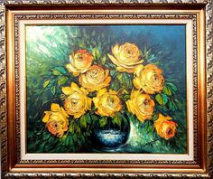 Items similar to Decorative oil painting on canvas - Yellow roses on Etsy Yellow Roses, Oil Painting On Canvas, Workshop, Unique Jewelry, Handmade Gifts, Etsy, Vintage, Decor, Art