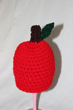 Crochet Red Apple Beanie on Etsy, $15.00