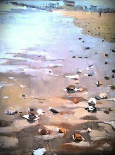 "Saatchi Art Artist: lynn grayson; Oil 2013 Painting ""Waves of rocks on the sand SOLD"""