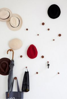 Peg wall for hats, keys, bags and more