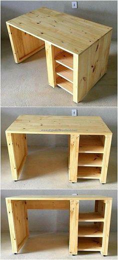 Pallet Desk, Wooden Pallet Furniture, Diy Furniture Projects, Diy Pallet Projects, Woodworking Projects Diy, Woodworking Furniture, Wooden Pallets, Woodworking Plans, Woodworking Chisels