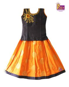 Kids Blue Saffron Designer Pavadai . Pattu pavadai . Pattu Langa . Kids Traditional Ethnic Pattu Pavadai