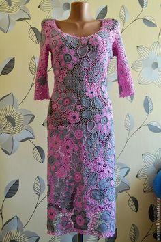 """Купить """" Серо-розовая мечта """" - розовый, цветочный, серый, ирландское кружево"""