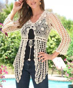 Beige Crochet Tie-Waist Cardigan | zulily