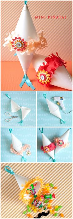 Tutorial♥ mini pinata Great for last day of school treats! Use all those sno cone cups I bought :)