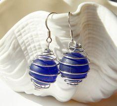 Faux Sea Glass  Marble Earrings Cobalt Blue by oceansbounty, $8.00
